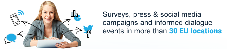 Surveys, press & social media campaigns and informed dialogue events in 30 EU countries